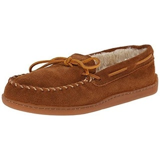 Minnetonka Mens Pile Suede Faux Fur Lined Moccasin Slippers - 9 medium (d)