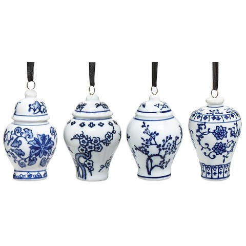 Bandwagon Mini Ginger Jar Ornaments, Set of 4 Porcelain Hanging Ornaments - White - 3 in.