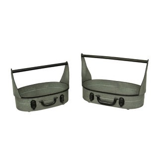 Galvanized Metal Rustic Suitcase Style Set of 2 Oval Tins with Handle