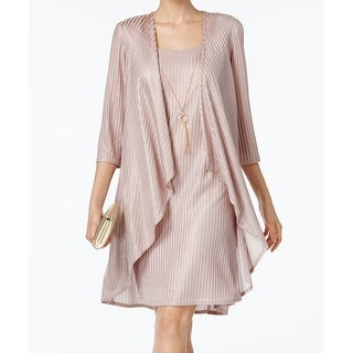 R&M Richards Pink Womens Size 8 Shimmer Textured 2PC Shift Dress