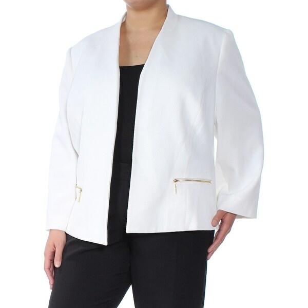 KASPER Womens Ivory Textured Blazer Wear To Work Jacket Plus Size: 24W