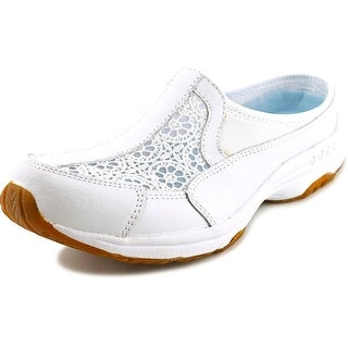 Easy Spirit Travel Lace Women W Round Toe Canvas White Mules