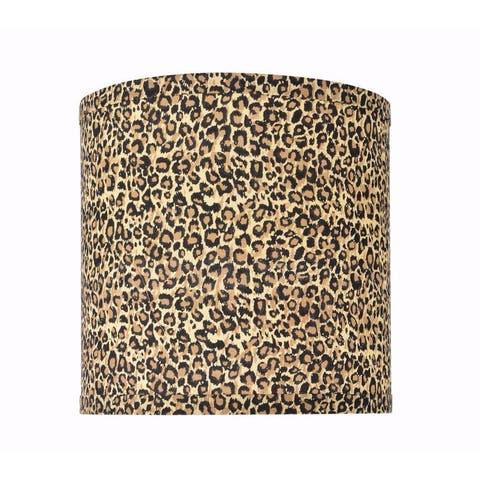 "Aspen Creative Hardback Drum (Cylinder) Shape Spider Construction Lamp Shade in Leopard Pattern (8"" x 8"" x 8"")"