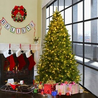 Costway 7Ft Pre-Lit Artificial PVC Christmas Tree Spruce Hinged w/700 LED Lights & Stand - green