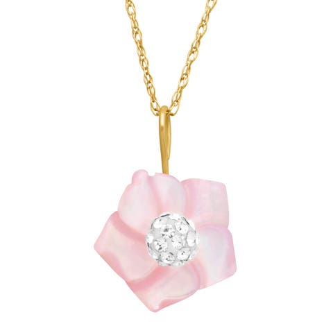 Pink Natural Mother-of-Pearl Flower Pendant with Swarovski Crystal in 14K Gold