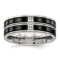 Stainless Steel Polished Black IP Plated CZ Band Ring (8 mm) - Sizes 7 - 13