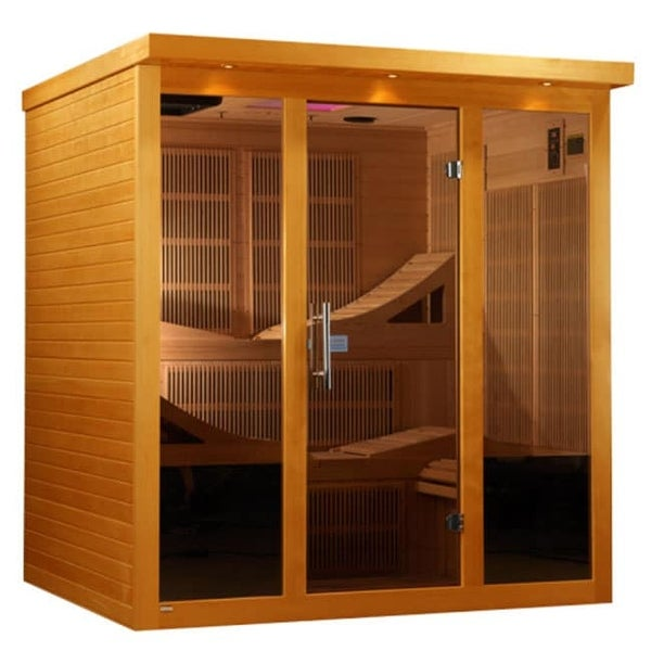 DYN-6996-01 6-person Far Infrared Natural Hemlock Wood Monaco Sauna - White