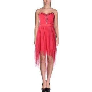 Teeze Me Womens Juniors Mesh Embellished Cocktail Dress