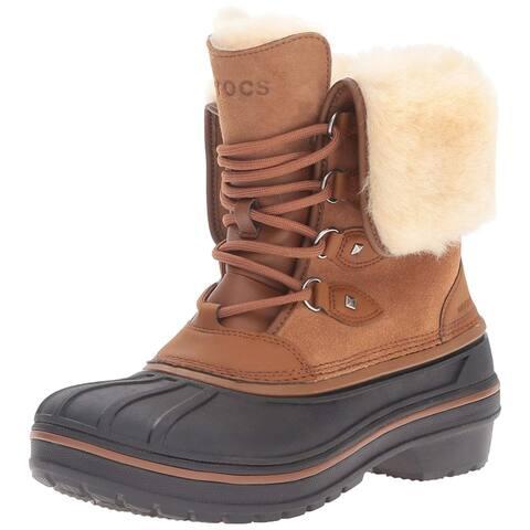 Crocs Womens AllCast Faux Fur Closed Toe Mid-Calf Cold Weather Boots