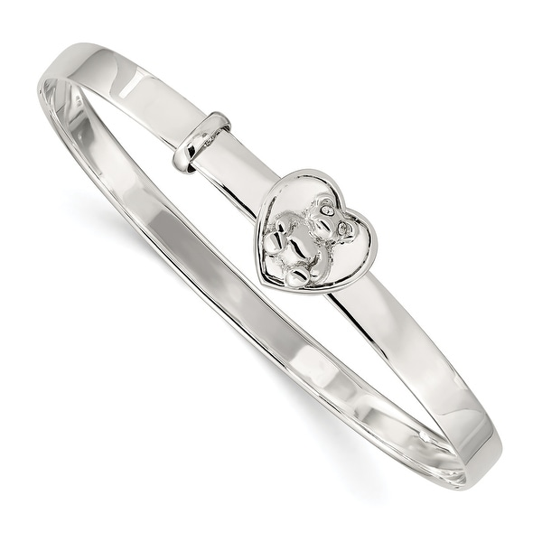 Sterling Silver Children's Cubic Zirconia Adjustable Bear/Heart 4mm Bangle by Versil. Opens flyout.