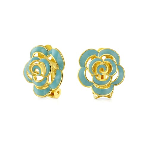 Turquoise Blue Enamel Rose Flower Spring Retro Clip On Earrings Button Style Non Pierced Ears 14k Gold Plated Brass