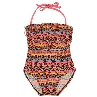 2B Real Little Girls Coral Motif Mix Print Halter One Piece Swimsuit (2 options available)