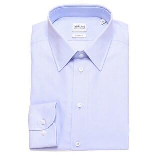 Armani Collezioni Men Slim Fit Cotton Patterned Dress Shirt Light Blue