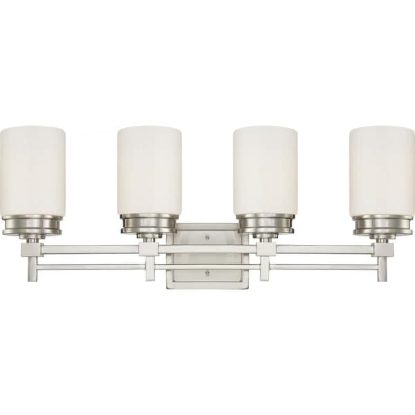 Nuvo Lighting 60/4704 Wright Four Light Bathroom Fixture with Satin White Glass - Brushed nickel