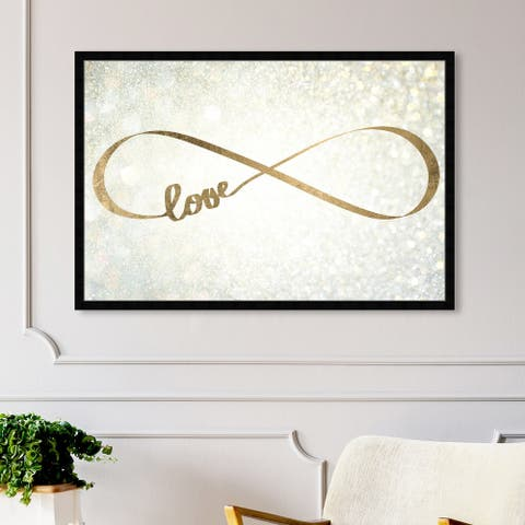 Oliver Gal 'Sparkle Love' Typography and Quotes Framed Wall Art Prints Love Quotes and Sayings - Gold, Yellow