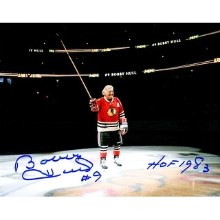 Bobby Hull Signed Blackhawks On Center Ice 8x10 Photo w/HOF 1983