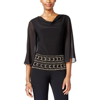 MSK Womens Pullover Top Beaded Cowl Neck