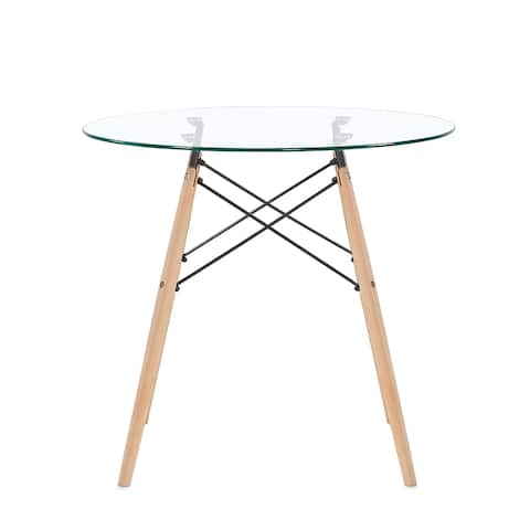 Mcombo Dining Table Round Clear Glass Table Modern Style Table