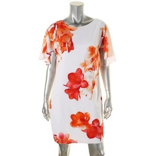 Calvin Klein Womens Babydoll Dress Floral Short Sleeve - 6