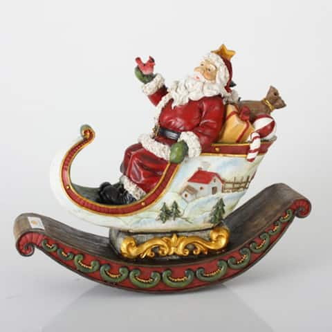 """13"""" Red and White Rocking Sleigh with Santa Claus Christmas Tabletop Decor"""