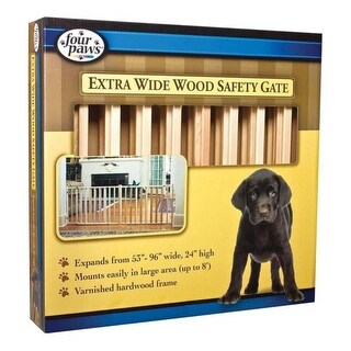 "Four Paws Extra Wide Wood Safety Gate 53""-96"" Wide x 24"" High"