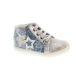 Naturino Girls 1528 Denim Flower Print Fashion Sneakers - silver/jeans
