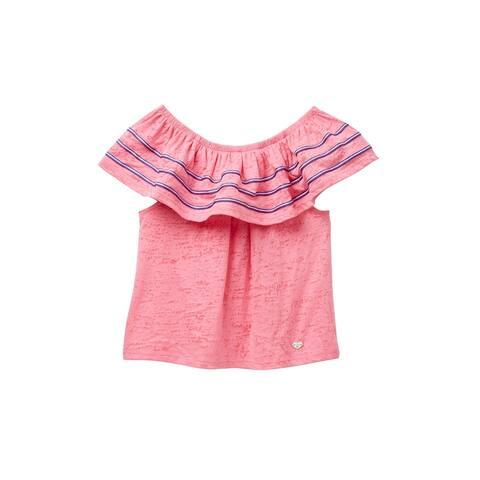 bebe Girl's Top Pink Size Large L (14) Burnout Knit Off-Shoulder Ruffle