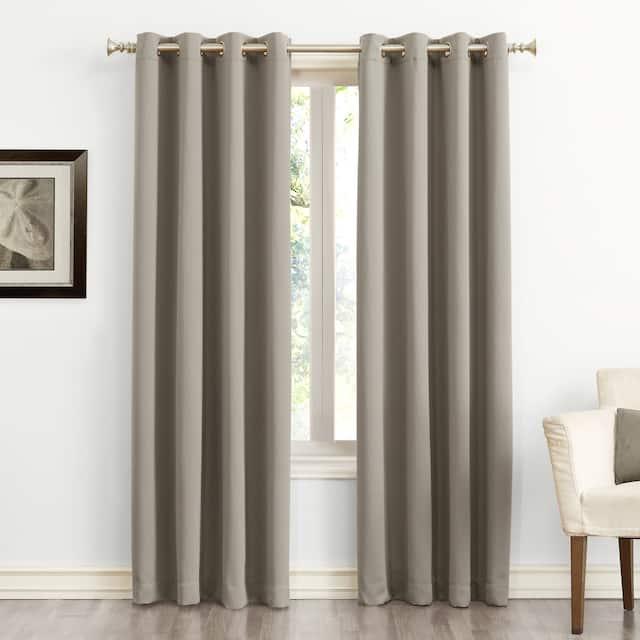 Sun Zero Hayden Energy Saving Blackout Grommet Curtain Panel, Single Panel - 54 x 120 - Stone