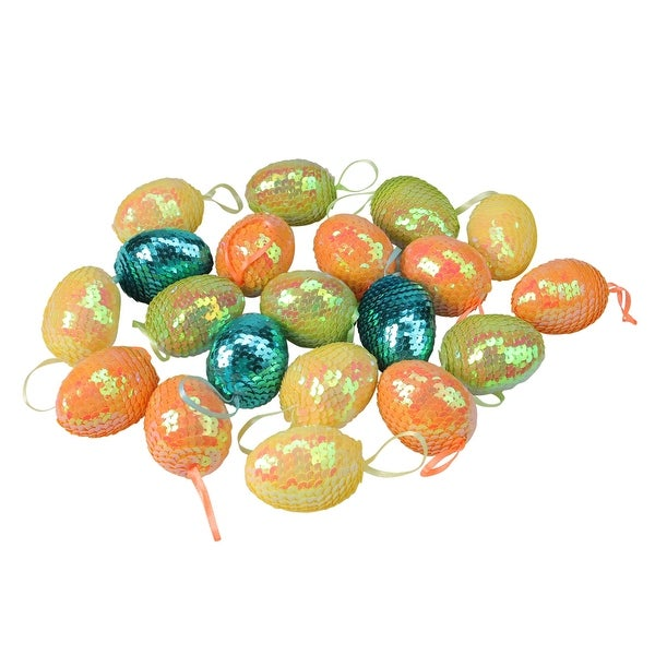 Bag Of 12 Pastel Easter Egg Yellow Green Pink Decoration Ornament Spring Flower