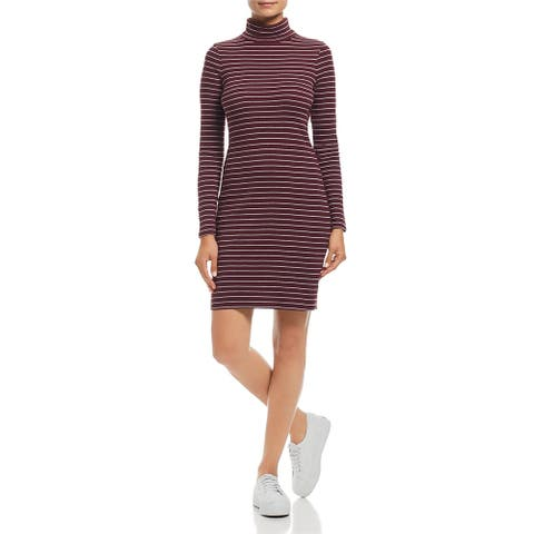 Three Dots Womens Shirtdress Striped Turtle Neck - Red