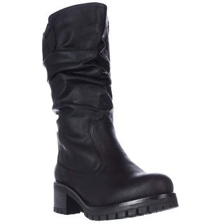 7 Dials Pickup Mid Calf Lug Sole Slouch Boots - Black