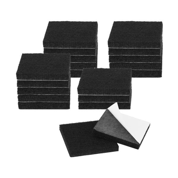 """20pcs Furniture Pads Square 1 1/2"""" Self-stick Anti-scratch Felt Pads for Chair Table Feet Floor Protector Black"""