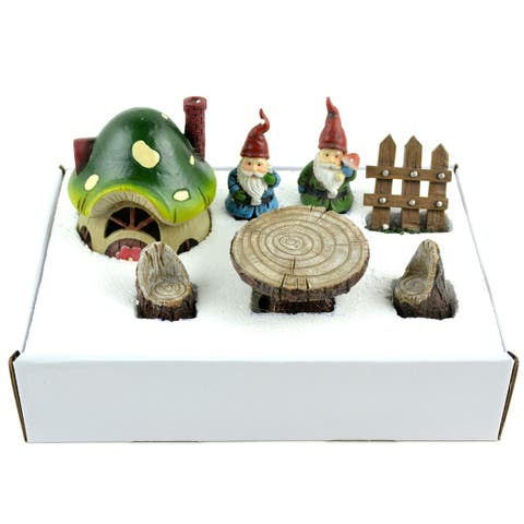 Fairy Garden Gnome Kit 7/Pkg-House, 2 Gnomes, Fence, Table, 2 Chairs