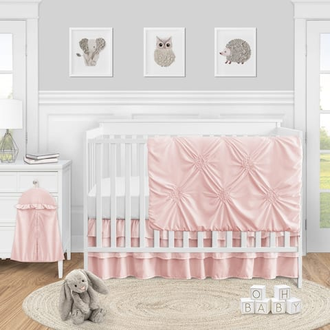 Sweet Jojo Designs Blush Pink Shabby Chic Harper Collection Girl 4-piece Bumperless Crib Bedding Set