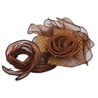 Celebration Wedding Party Chiffon Flower Shaped Pew Seat Chair Decoration Brown