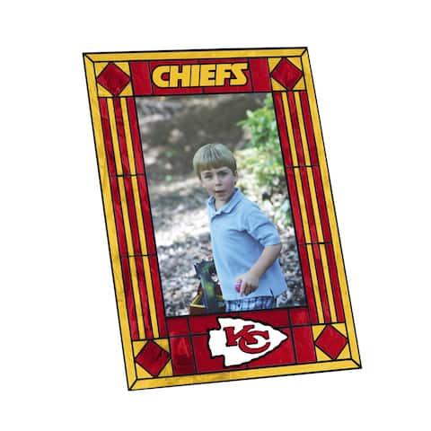 """Kansas City Chiefs Art Glass 4 x 6"""" Vertical Picture Frame"""