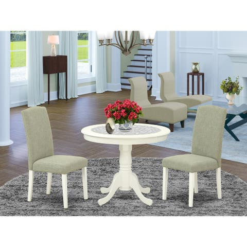 Round 36 Inch Table and Parson Chairs in Dark Shitake Linen Fabric - Linen White Finish (Number of Chairs Option)