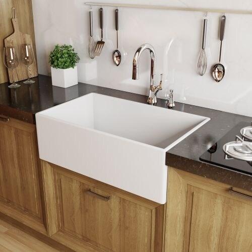 "Miseno MNO33201FC Modena 33"" Single Basin Farmhouse Fireclay Kitchen Sink"