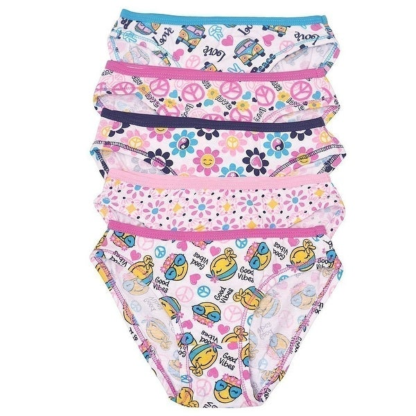 444eebcf36c0 Shop 1000% Cute Little Girls Multi Peace Print 5 Piece Pack Cotton Underwear  - Free Shipping On Orders Over $45 - Overstock - 21610902