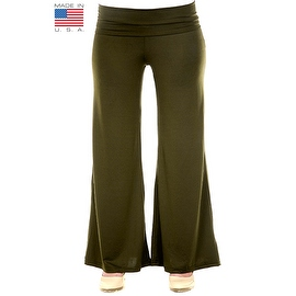 Plus Size Women's Olive Palazzo Pants Lose Fit Wide Leg Folding Waist Sexy Comfy
