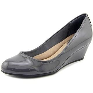 Giani Bernini Jileen Open Toe Patent Leather Wedge Heel