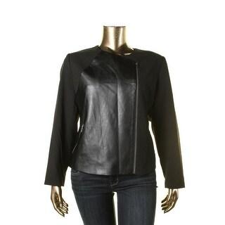 Calvin Klein Womens Plus Faux Leather Trim Shoulder Pads Motorcycle Jacket - 20W