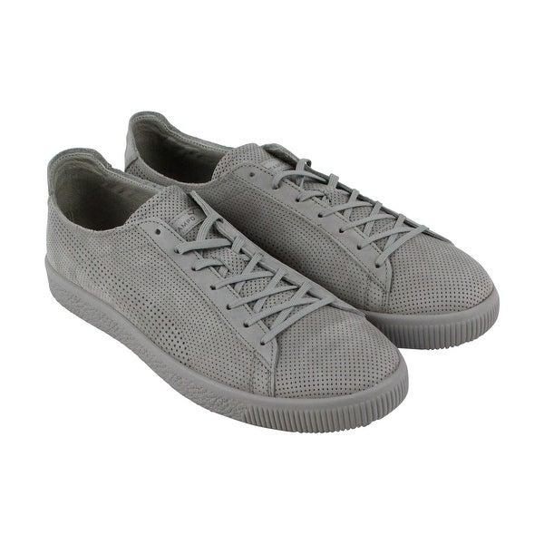 00d20edb422a Shop Puma X Stampd Clyde Mens Gray Leather Lace Up Sneakers Shoes ...