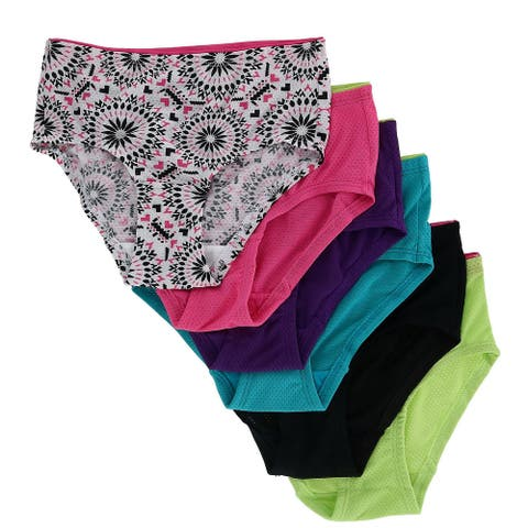 Fruit of the Loom Girl's Breathable Micro Mesh Briefs Underwear (6 Pair Pack) - Multi