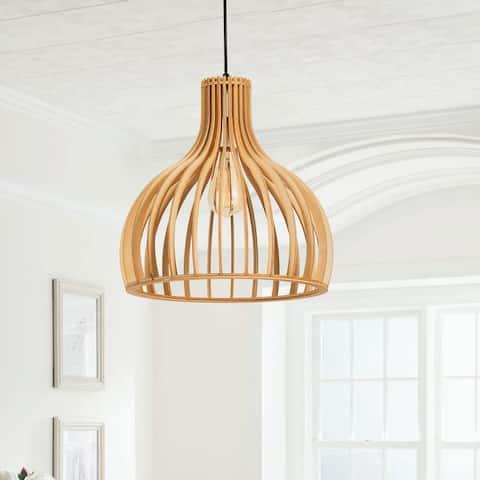 """CO-Z 58"""" Modern Wood Single Light Teardrop Pendant Ceiling Fixture"""