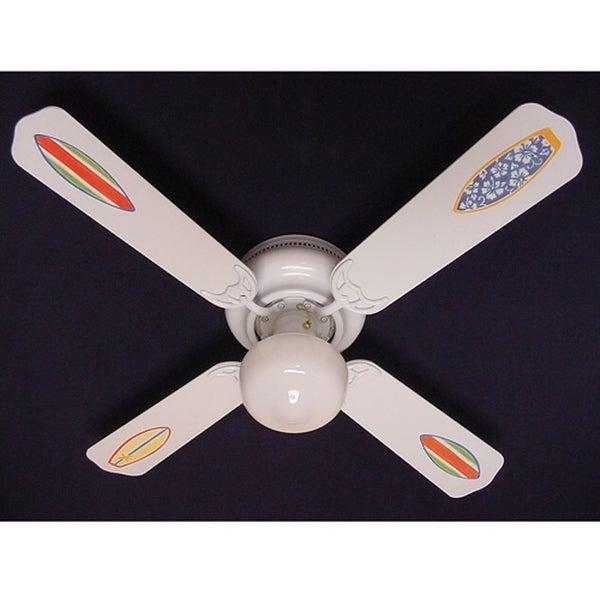 White Rad Surf Board Print Blades 42in Ceiling Fan Light Kit - Multi