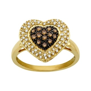 1/3 ct White and Champagne Diamond Heart Ring in 10K Gold