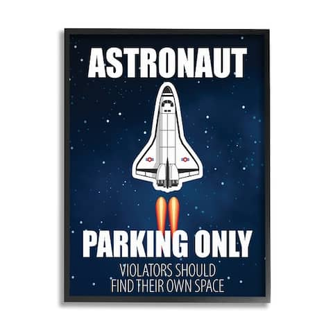 Stupell Industries Astronaut Parking Only Sign Kids' Space Jet Humor Framed Wall Art - Blue