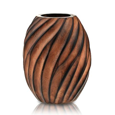 Handmade Mesmerizing Hand-carved Spiral Brown Mango Tree Wood Flower Vase (Thailand)