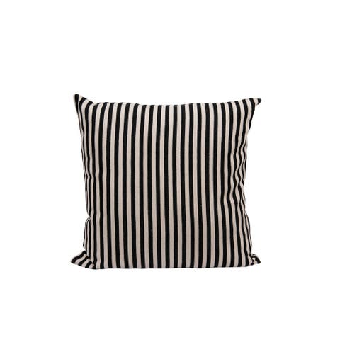 Square Cotton Woven Pillow with Black & Cream Stripes
